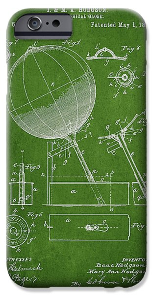 Global Greens iPhone Cases - Geographical Globe Patent Drawing From 1894 iPhone Case by Aged Pixel
