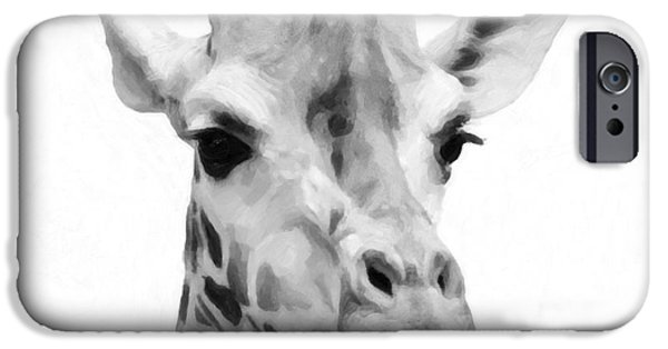 Cut-outs Mixed Media iPhone Cases - Giraffe on white background  iPhone Case by Toppart Sweden