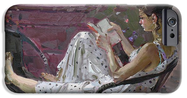 Figures Paintings iPhone Cases - Girl Reading iPhone Case by Ylli Haruni