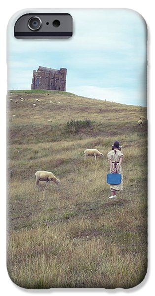 girl with sheeps iPhone Case by Joana Kruse