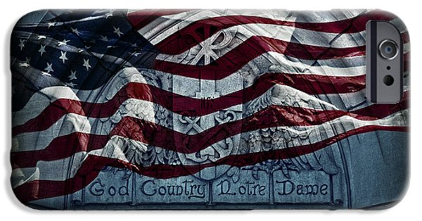 Stripes iPhone Cases - God Country Notre Dame American Flag iPhone Case by John Stephens