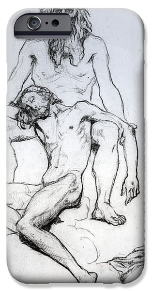 Christ Drawings iPhone Cases - God the Father and God the Son iPhone Case by Henri Lehmann