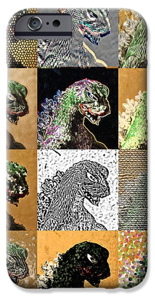 Recently Sold -  - Mosaic iPhone Cases - Godzilla Pop Art iPhone Case by Jacqueline Barden