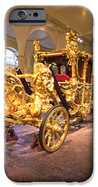 Royal Family Arts iPhone Cases - Gold State Coach Queen Elizabeth II iPhone Case by David French