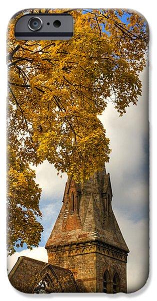 Fall Scenes iPhone Cases - Golden Steeple iPhone Case by Joann Vitali
