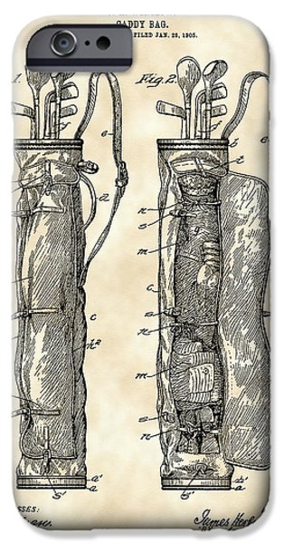 Iron iPhone Cases - Golf Bag Patent 1905 - Vintage iPhone Case by Stephen Younts
