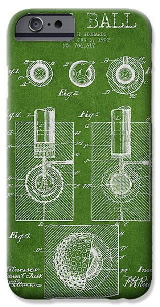 Golfing iPhone Cases - Golf Ball Patent Drawing From 1902 iPhone Case by Aged Pixel
