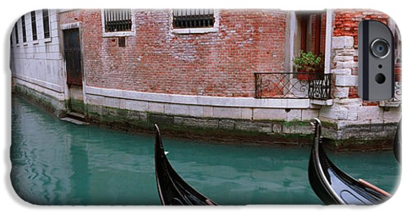 Balcony iPhone Cases - Gondolas In A Canal, Grand Canal iPhone Case by Panoramic Images