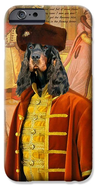 Gordon Setter iPhone Cases - Gordon  Setter Art Canvas Print iPhone Case by Sandra Sij