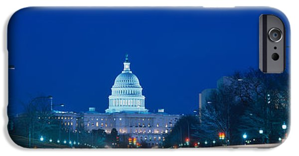 Patriotism iPhone Cases - Government Building Lit Up At Dusk iPhone Case by Panoramic Images