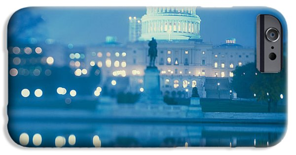 19th Century iPhone Cases - Government Building Lit Up At Night iPhone Case by Panoramic Images