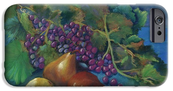 Red Wine Pastels iPhone Cases - Grapes and Pears iPhone Case by Antonia Citrino