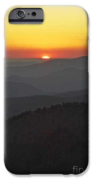 Setting Sun iPhone Cases - Great Smokie Mountains National Park Sunset iPhone Case by Dustin K Ryan