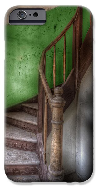 Interior Scene iPhone Cases - Green stairs iPhone Case by Nathan Wright