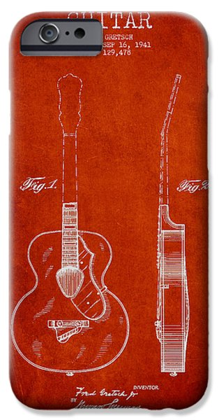 Technical iPhone Cases - Gretsch guitar patent Drawing from 1941 - Red iPhone Case by Aged Pixel