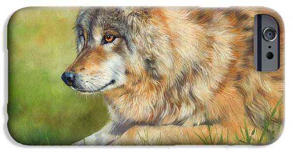 David iPhone Cases - Grey Wolf iPhone Case by David Stribbling
