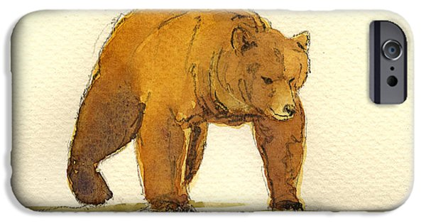 Grizzly iPhone Cases - Grizzly bear iPhone Case by Juan  Bosco