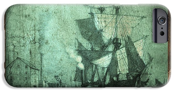 Pirate Ships iPhone Cases - Grungy Historic Seaport Schooner iPhone Case by John Stephens