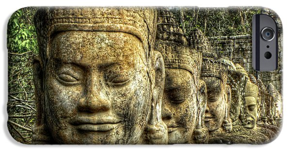 Head Stones iPhone Cases - Guardians of Angkor Thom iPhone Case by Douglas J Fisher