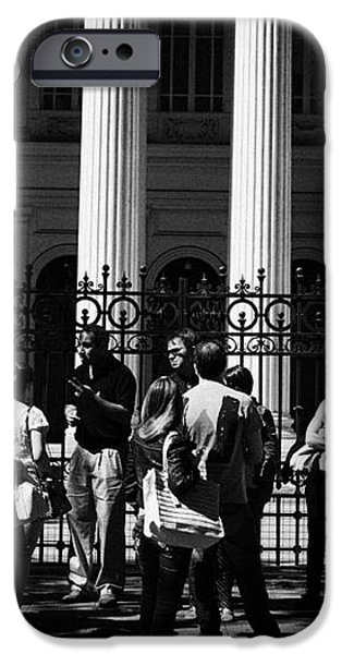 guided tour group outside the former national congress building Santiago Chile iPhone Case by Joe Fox