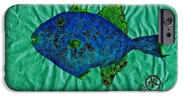 Sportfish Mixed Media iPhone Cases - Gyotaku - Triggerfish - Queen Triggerfish iPhone Case by Jeffrey Canha
