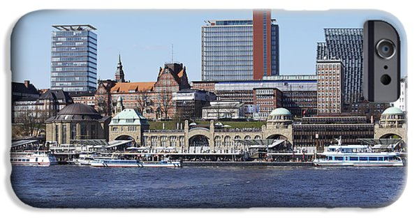 Town iPhone Cases - Hamburg - Skyline of the port iPhone Case by Olaf Schulz