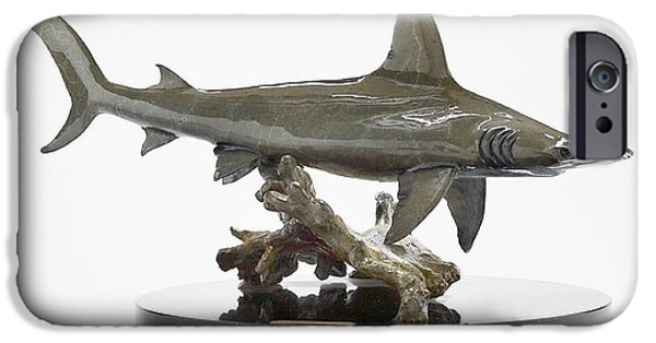 Shark Sculptures iPhone Cases - Hammerhead iPhone Case by Victor Douieb