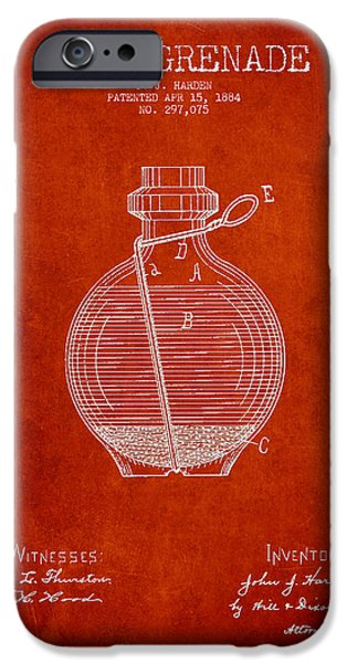 Explosion Digital iPhone Cases - Hand Grenade Patent Drawing from 1884 iPhone Case by Aged Pixel
