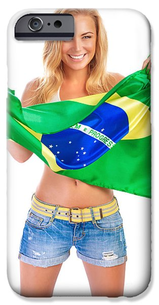 Model iPhone Cases - Happy football fan iPhone Case by Anna Omelchenko