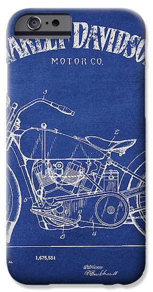 Harley Davidson Motorcycle Cycle Support Patent Drawing From 192 iPhone Case by Aged Pixel