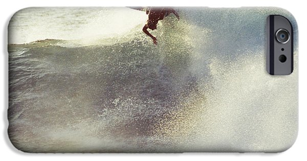 Adrenaline iPhone Cases - Hawaii, Oahu, North Shore, Surfer Carving Wave. iPhone Case by Vince Cavataio