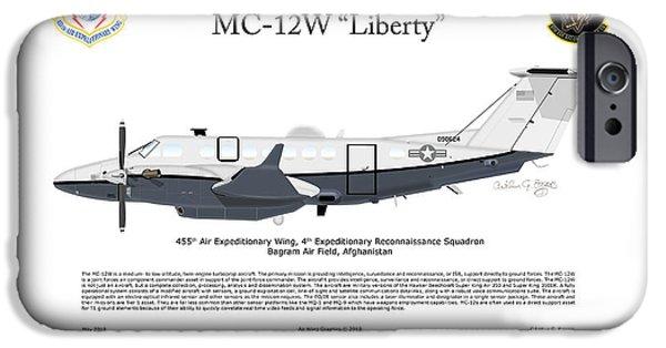 Iraq iPhone Cases - Hawker Beechcraft MC-12W Liberty iPhone Case by Arthur Eggers