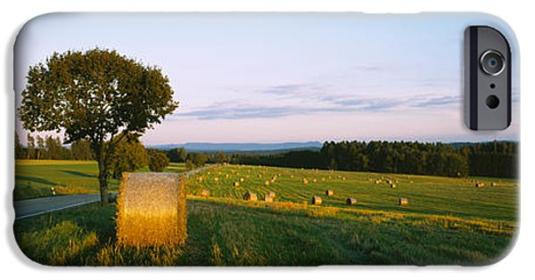 Hay Bales iPhone Cases - Hay Bales In A Field, Germany iPhone Case by Panoramic Images