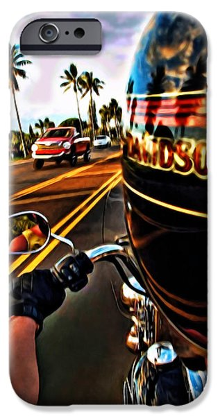 Heading Out iPhone Cases - Heading Out On Harley iPhone Case by Joan  Minchak
