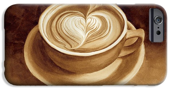 Espresso Paintings iPhone Cases - Heart Latte II iPhone Case by Hailey E Herrera