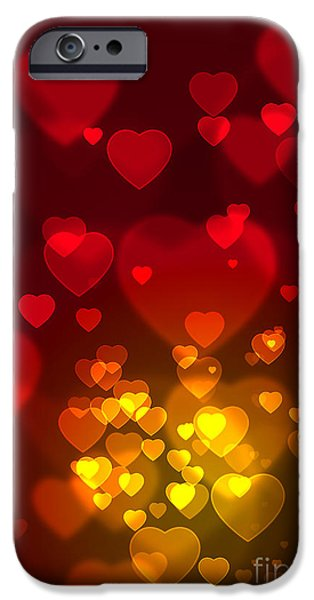 Celebrated iPhone Cases - Hearts Background iPhone Case by Carlos Caetano