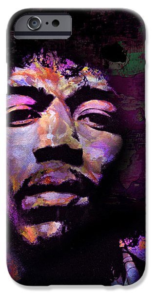 James Marshall Jimi Hendrix iPhone Cases - Hendrix iPhone Case by Mal Bray