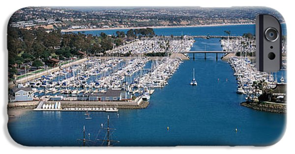 High Angle iPhone Cases - High Angle View Of A Harbor, Dana Point iPhone Case by Panoramic Images