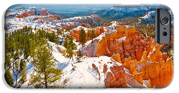 Red Rock iPhone Cases - High Angle View Of Rock Formations iPhone Case by Panoramic Images