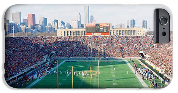 Soldier Field iPhone Cases - High Angle View Of Spectators iPhone Case by Panoramic Images