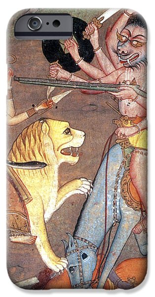 Hindu Goddess Durga Fights Mahishasur iPhone Case by Photo Researchers