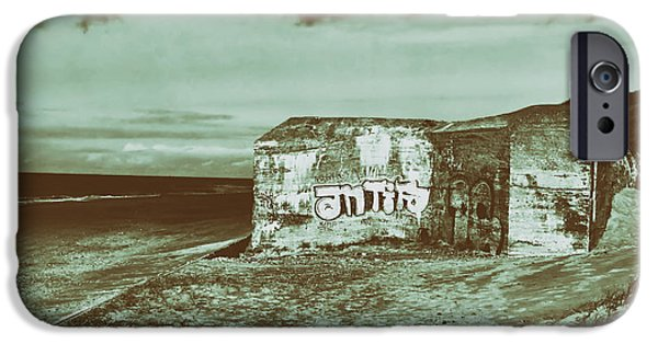 North Sea iPhone Cases - Historical Graffiti Sprayed World War II Bunker on the North Sea - Germany iPhone Case by Mountain Dreams