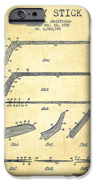 Hockey Art iPhone Cases - Hockey Stick Patent Drawing From 1935 iPhone Case by Aged Pixel