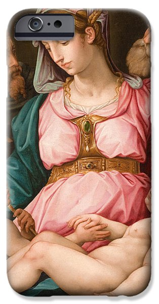 Christ Artwork iPhone Cases - Holy Family with the Infant Saint John the Baptist and Saint Francis iPhone Case by Giorgio Vasari