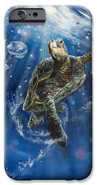 Reptile Paintings iPhone Cases - Honus Dance iPhone Case by Marco Antonio Aguilar
