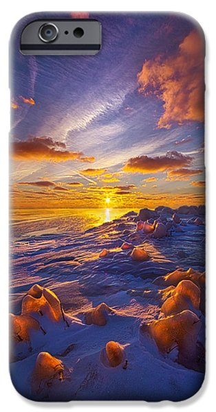 Frozen Lake iPhone Cases - Horizons iPhone Case by Phil Koch