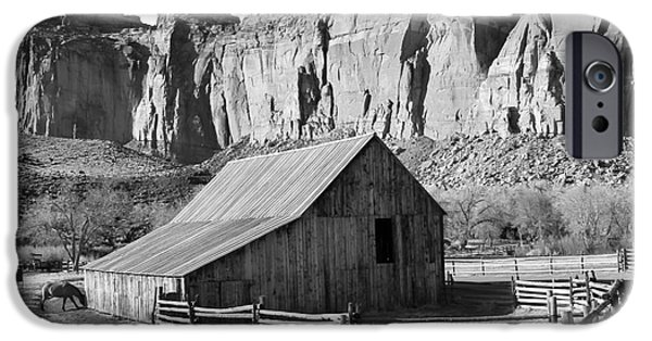 Split Rail Fence iPhone Cases - Horse Barn in Fruita Utah iPhone Case by Jack Schultz