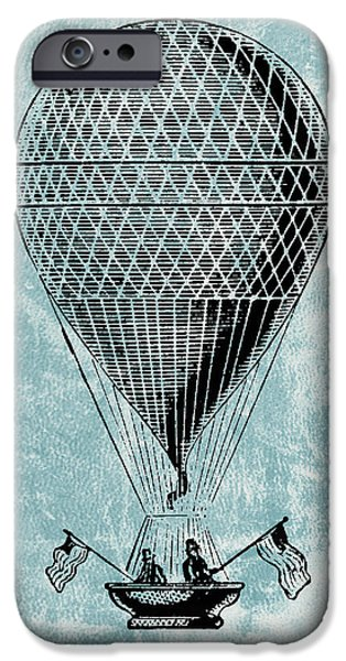 Aeronautical iPhone Cases - Hot Air Balloon - Retro Design iPhone Case by World Art Prints And Designs