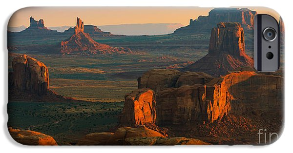 Nation iPhone Cases - Hunts Mesa in Monument Valley iPhone Case by Henk Meijer Photography