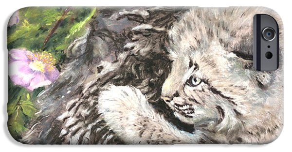 Bobcat Kittens iPhone Cases - I Can Almost Reach It iPhone Case by Sandy Brooks